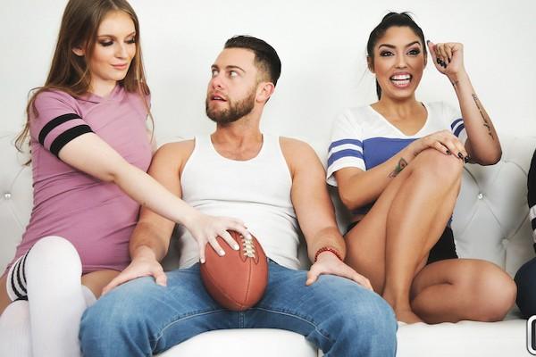 Super Sunday Sluts with Seth Gamble, Vanessa Sky, Maya Kendrick at sneakysex.com