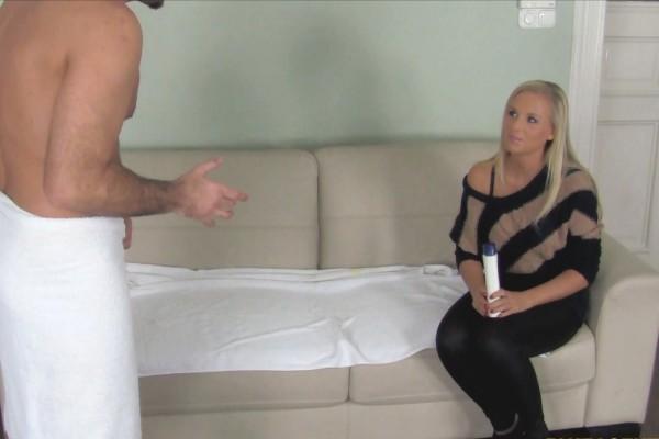 Blonde Massage Babe Gets Handsy With Agent's Dick ft James Brossman - FakeHub.com