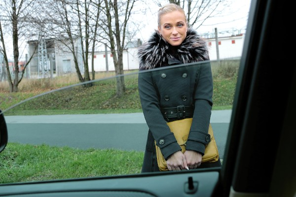 Watch Cristal Caitlin in Fit Hitchhiker in Nude Stockings