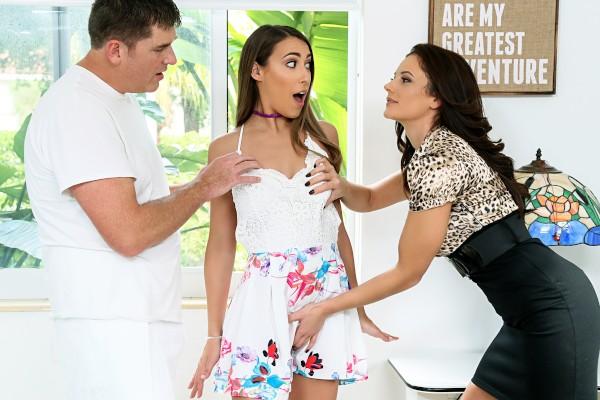 Watch Kimber Lee, Mandy Flores, David Flores in Peeping Gardener Shares Big Cock