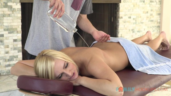 Young hottie Kate England fucks her stepbrother after her massage