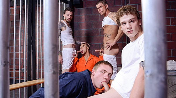 Watch Eli Hunter, Zane Anders, Donny Forzo, Sebastian Young in Barebacked In Prison Part #4, Scene 1