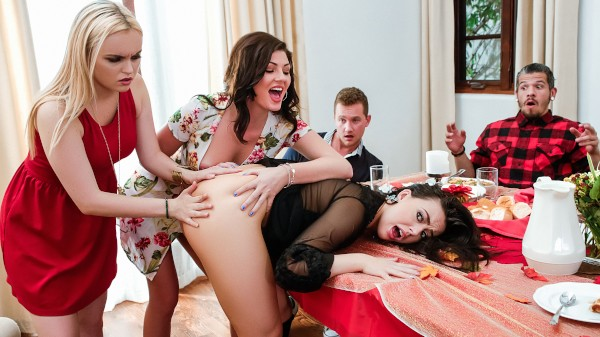 Thanksgiving Dinner Sluts with Van Wylde, Bambino, Whitney Wright, River Fox, Jessica Rex at sneakysex.com