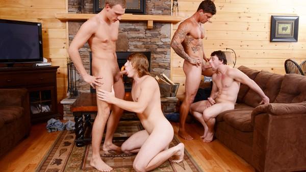 Watch Bryce, Tom Faulk, Sebastian Young in Backwoods Bareback Part #3, Scene 1