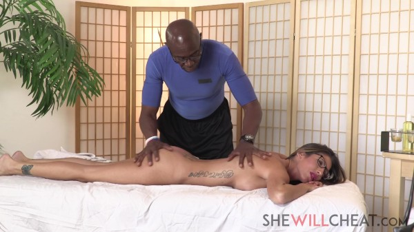 """Sexy milf Dava Foxx cheats on her husband with BBC masseur"