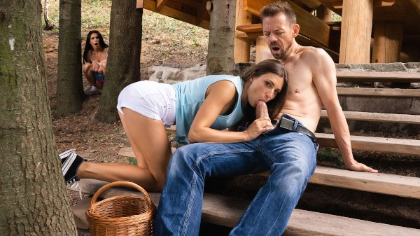 Lost girls double team hot woodsman at SexyHub.com