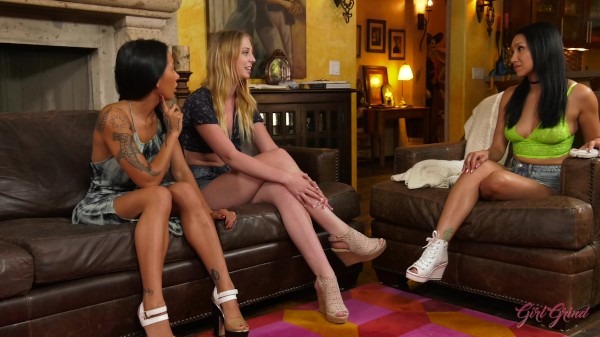 Chloe Scott gets shown the way women fuck by Amia Miley and Vicki Chase