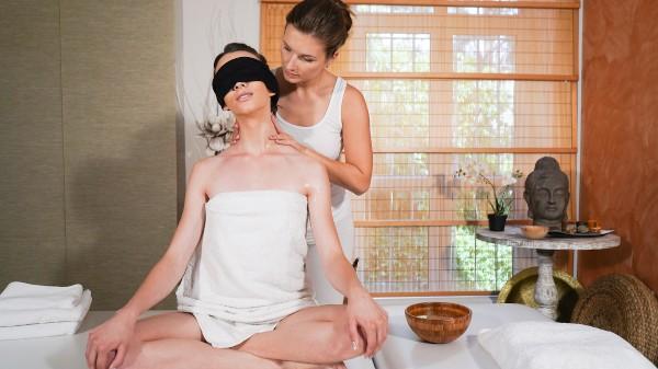 Erotic blindfold lesbian massage at SexyHub.com