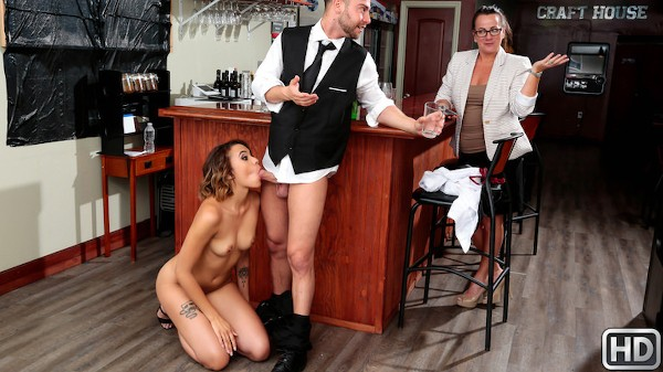 Wet Bar with Seth Gamble, Eve Ellwood at sneakysex.com