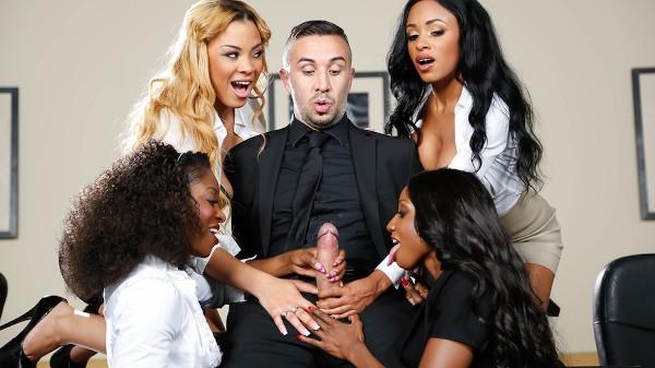 Office 4-Play VII: Ebony Babes - Brazzers Porn Scene