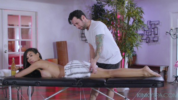 Busty Heather Vahn gets fucked during her massage by her employee at the Kinky Spa
