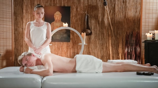 Petite nymph masseuse oiled and wet at SexyHub.com