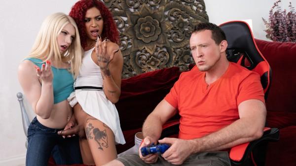Watch Horny For The Gamer Roommate Part 2 featuring Pierce Paris, Izzy Wilde, Rubi Maxim Transgender Porn