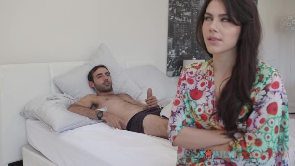 Valentina Nappi fucks her horny stepson after she catches him masturbating