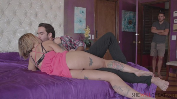 Tattooed blonde Kleio Valentien cheats on her husband with their handsome roommate