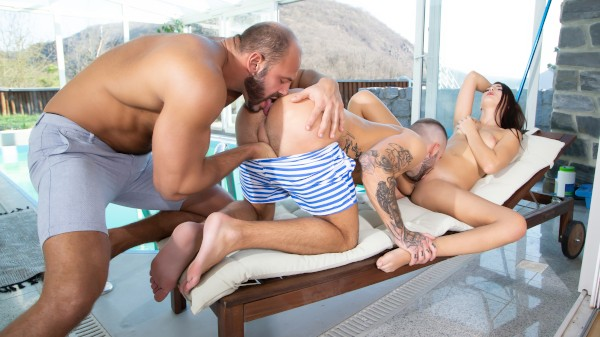 Pool Boy Toy Bisexual Orgy on Bi Empire with Katy Rose