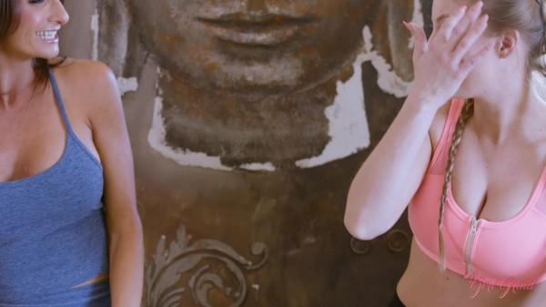 Lesbian milf Silvia Saige seduces big tit blonde yoga instructor Britney Amber