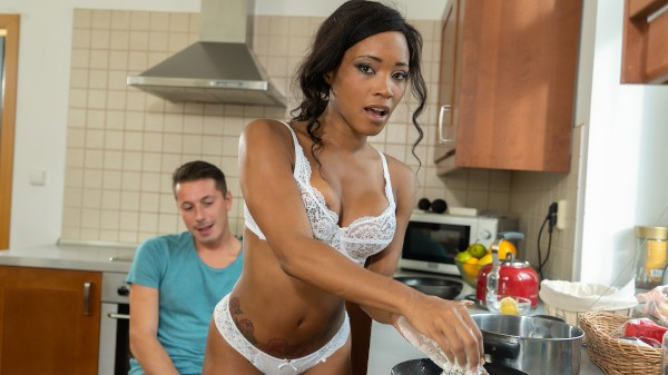 Sexy ebony MILF kitchen creampie at SexyHub.com