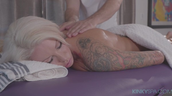 Big tit tattooed blonde Lolly Ink gets fucked by her hot masseur