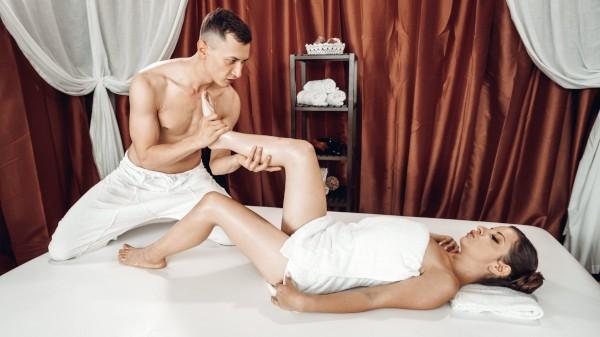 Big cock footjob on massage table at SexyHub.com