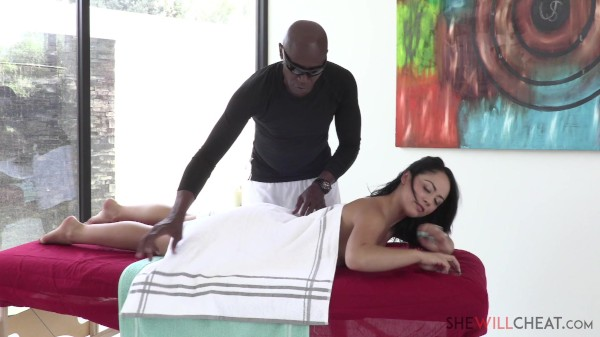Kristina Rose cheats on her husband with a handsome black masseur
