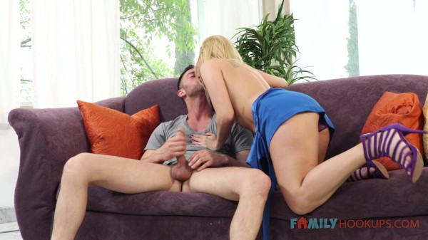 Hot blonde milf Aaliyah Love sucks and fucks her hung stepson
