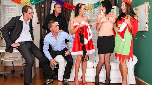 X_Mas Orgy Scene 2 Porn DVD on Mile High Media with Angie Emerald, Mark Zicha, Linet Slag, Rachel Evans, Steve Q, Thomas