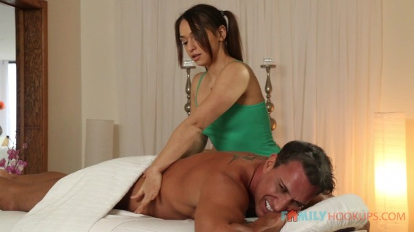 Sara Luvv fucks her dad's best friend after a massage