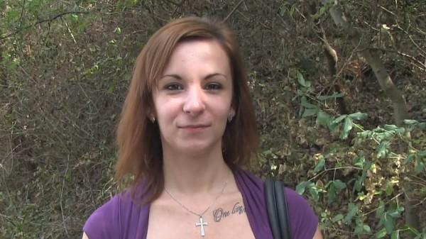 Watch Lena Dark in Brunette having outdoors sex in the bushes