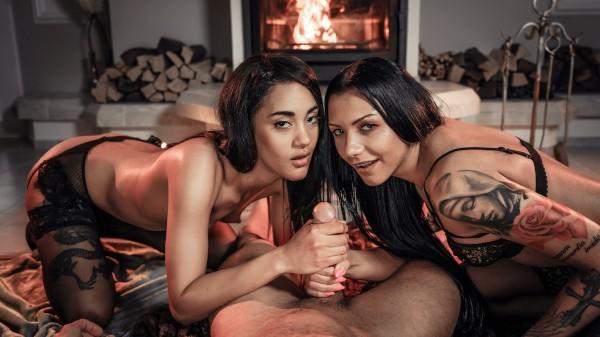Enjoy Twice the Delights on Deviant.com Featuring Angelo Godshack, Capri Lmonde, Adelle Sabelle