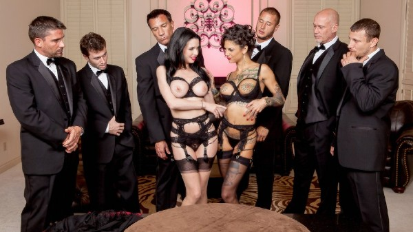 The Secret Soiree: Six-Man Gangbang - Brazzers Porn Scene