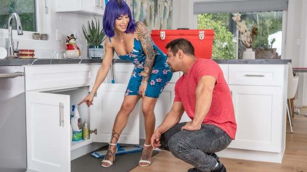 The Plumber's Pipe Shemale DVD on TransSensual with Draven Navarro, Foxxy