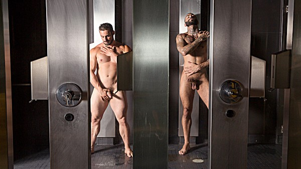 Watch Jaxton Wheeler, Rikk York in The Steam Room Part #1, Scene 1