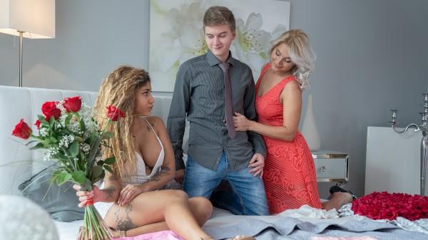 Blonde MILF 3way with jilted Latina at SexyHub.com