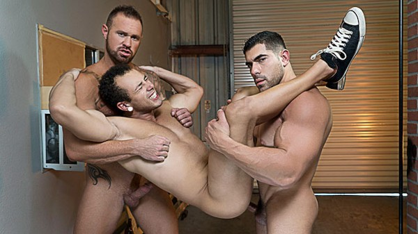 Watch Leon Lewis, Damien Stone, Michael Roman in Whore Alley Part #4, Scene 1