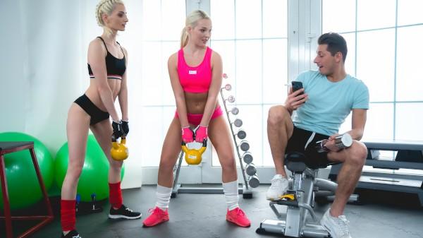 Fanboy fucks pornstar in gym 3some at SexyHub.com