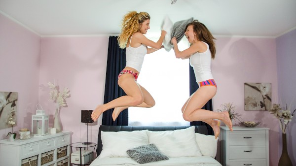 Watch Emylia Argan in Pillow fight before lesbian sex