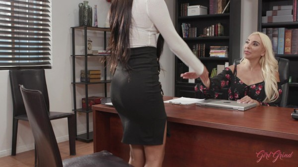 Busty Kylie Kingstone fucks her hot Latina interviewee Katya Rodriguez in the office