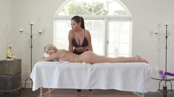 "Busty brunette Bridgette B gives blonde bombshell Riley Steele  a ""full service"" massage"