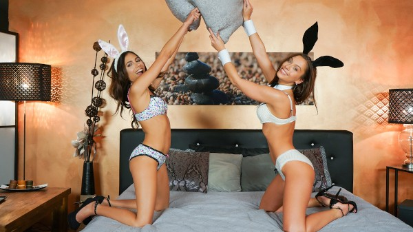 Watch Sabrisse, Baby Nicols in Playful pussy eating Easter bunnies