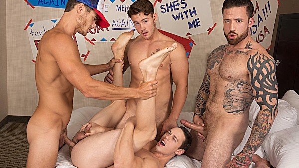 Watch Evan Marco, Tobias, Trevor Long, Jordan Levine in Bro In The Streets, Ho In The Sheets Part #4, Scene 1